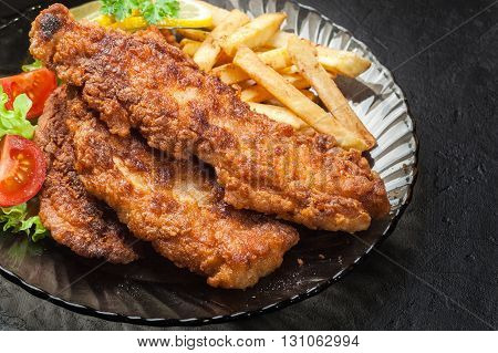 Fried Fish In Crispy Batter With Chips