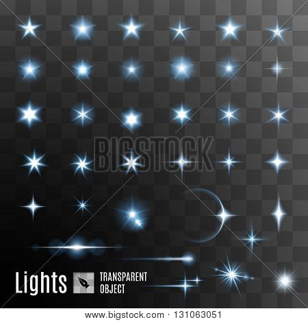 Set of glowing light effect stars bursts with sparkles on transparent background