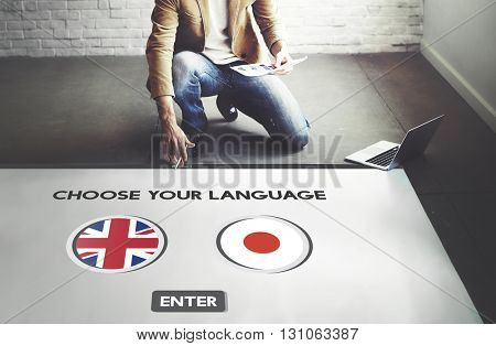 English Japanese Language Communication Concept