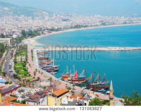 The general architecture of the city Alanya in Turkey.