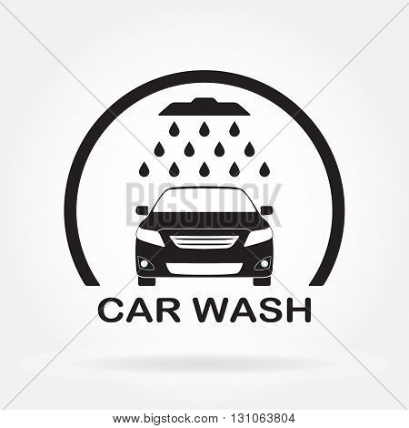 Car wash icon or label with auto shower and water drops. Vector illustration of washing vehicle symbol in flat design.