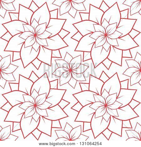 Seamless texture with outline of pink lotus flowers. Vector background for spa centers yoga studios postcard and your design
