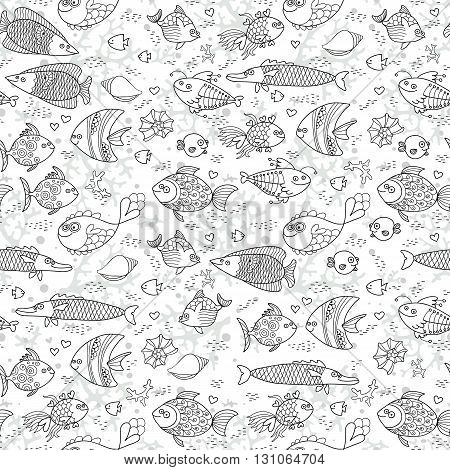 Background underwater world. Seamless pattern with cute fish, shells, corals. Vector illustration.