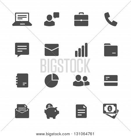 Business flat icons gray set of 16