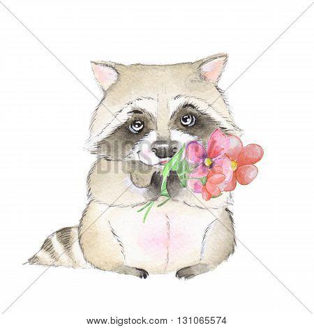 Cute raccoon and flowers. Watercolor cartoon illustration