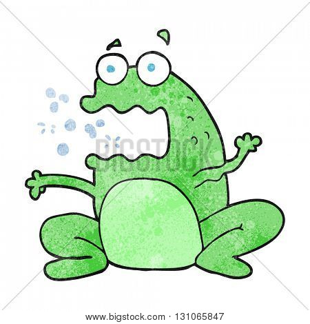 freehand textured cartoon burping frog