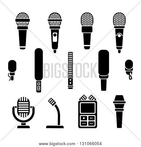 Microphone types black icons vector set. Microphone media sound and audio device microphone illustration