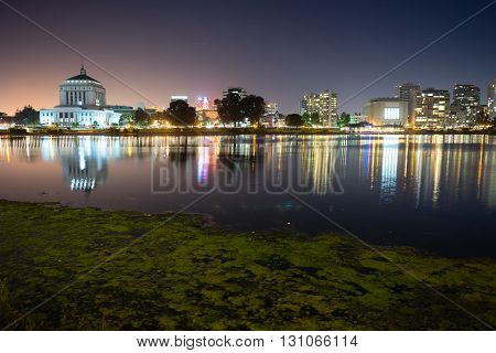 Smooth water of Lake Merritt in front of Oakland