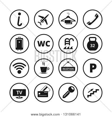 Hotel icons vector set. Hotel travel set icon, tourism sign or symbol for hotel service illustration