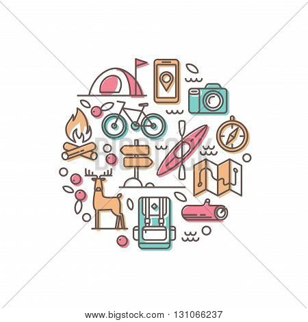 Summer vacation in nature. Set of line vector icons.