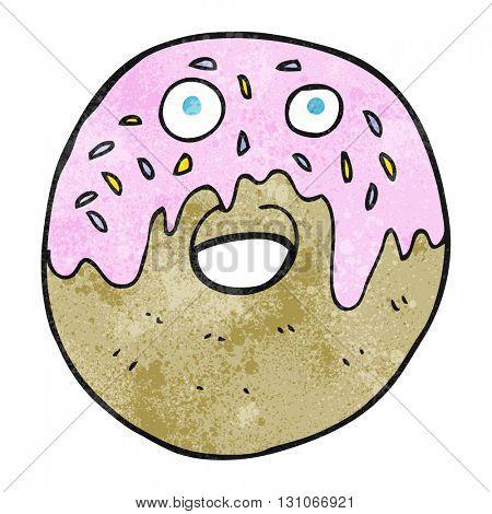 freehand textured cartoon doughnut