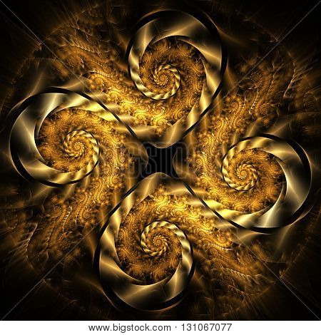 Abstract fantasy golden spiral ornament on black background. Creative fractal design for greeting cards or t-shirts.