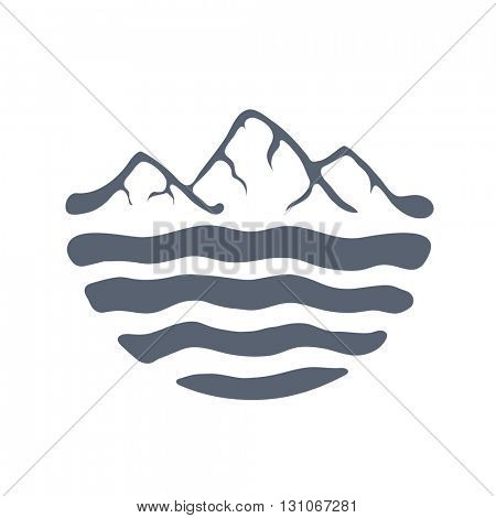 Mountain range over a lake, sea or ocean, outdoor logo vector illustration.