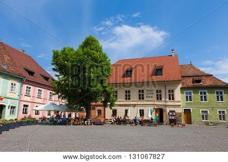 Sighisoara, Romania, May 6, 2016: Old town center of Sighisoara, Sighisoara is a city on the Tarnava Mare River in Mureș County, Romania. Located in the historic region of Transylvania.