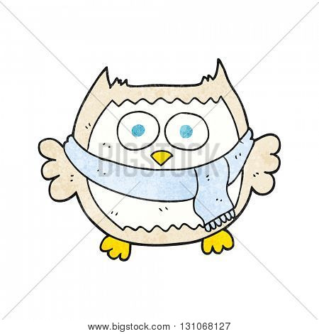 freehand textured cartoon owl wearing scarf