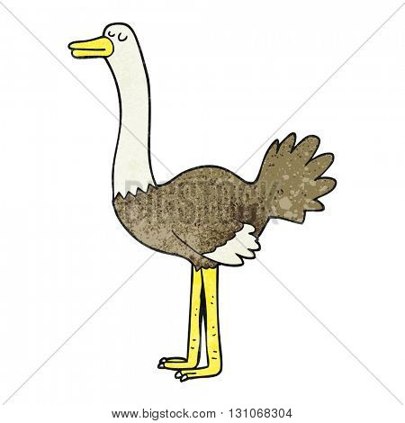 freehand textured cartoon ostrich