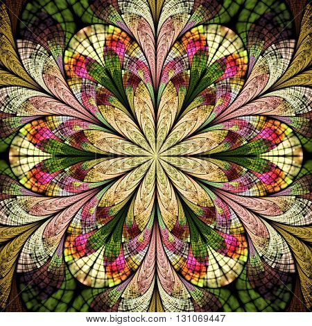 Abstract flower mandala on black background. Symmetrical pattern in green red beige and pink colors. Fantasy fractal design for postcards wallpapers or clothes.