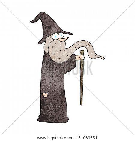 freehand textured cartoon wizard