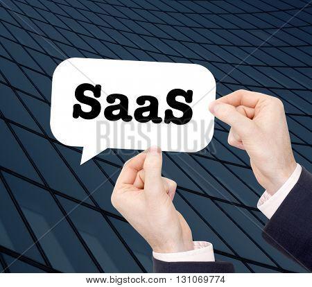 Saas written in a speechbubble