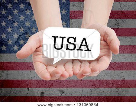 USA written on a speechbubble