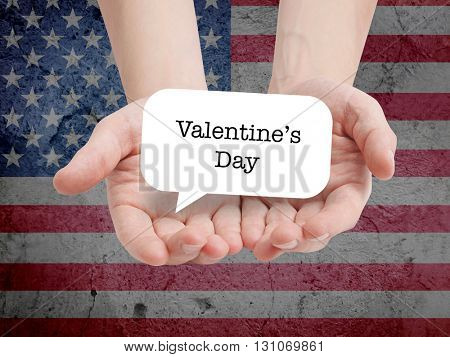 Valentine's Day written on a speechbubble
