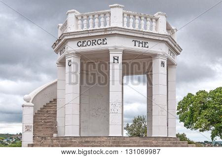 UITENHAGE SOUTH AFRICA - MARCH 7 2016: The King George V memorial at the top of Canonhill in Uitenhage an industrial town in the Nelson Mandela Bay Metropolitan Municipality in the Eastern Cape