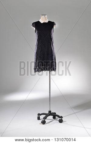 female black sundress clothing on dummy - full-length
