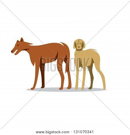 Hunting abstract dogs isolated on white background