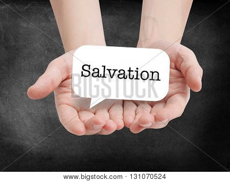 Salvation written on a speechbubble