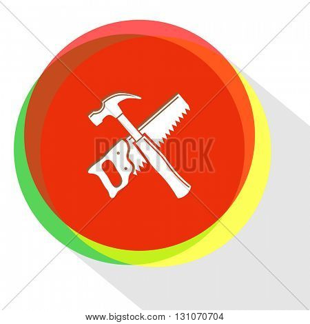 hand saw and hammer. Internet template. Vector icon.