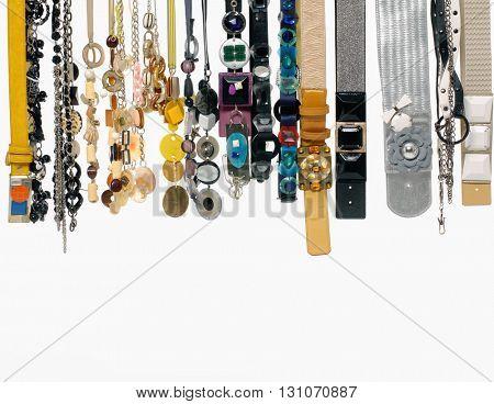 Row of woman many belts