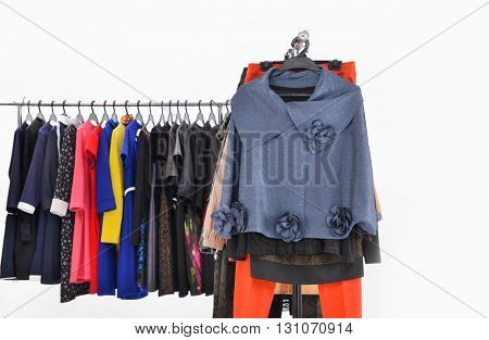 colorful fashion female clothing on hanging
