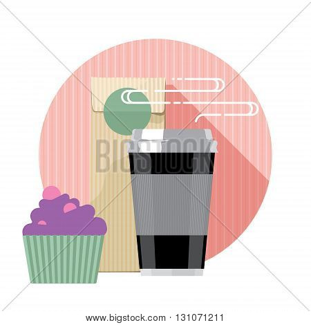 Coffee cup. Coffee cup isolated on background. Paper coffee cup. Coffee cup in flat style, coffee machine and cake