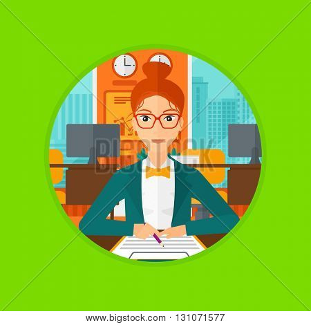 A business woman signing a business contract in office. Business woman is about to sign a business contract. Vector flat design illustration in the circle isolated on background.