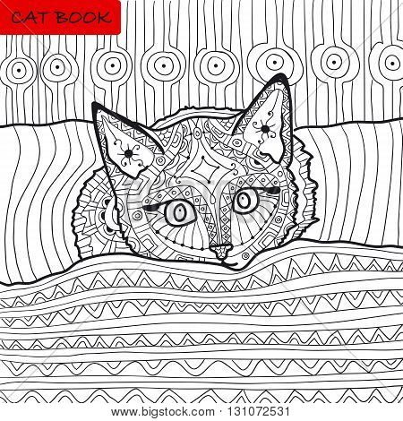 zentangle cat book, the kitten on the bed, coloring book for adults, cat book, coloring page, zenart