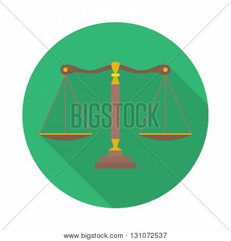 Scales of Justice sign. Law balance symbol - vector icon with long shadow