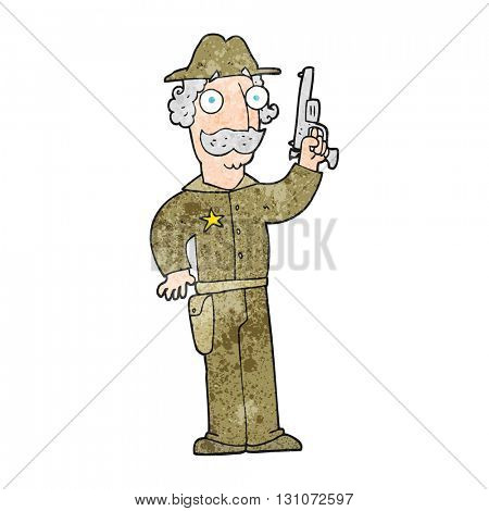 freehand textured cartoon sheriff