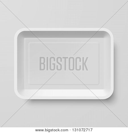 Empty White Plastic Food Container on Gray Background