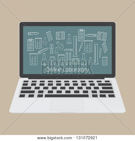 Computer laptop with laboratory accessories icon. Vector illustration fla design technology of online education concept.