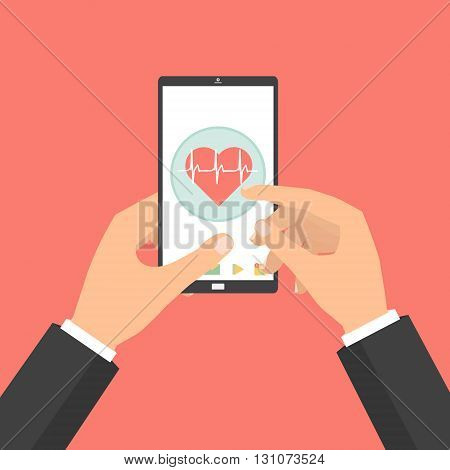 Business man hands point to smart phone tablet screen for health check concept of telemedicine technology on red background. Vector illustration internet of things technology trend.