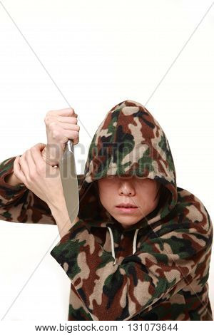 killer man with knife on white background