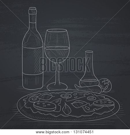 Pizza with bottle of wine and a glass. Pizza hand drawn in chalk on a blackboard. Pizza vector sketch illustration.