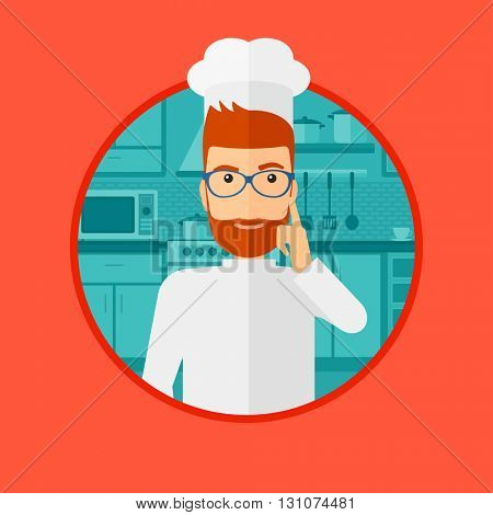 A cheerful chief in uniform standing in the kitchen and pointing forefinger up. Chef thinking about the recipe. Vector flat design illustration in the circle isolated on background.