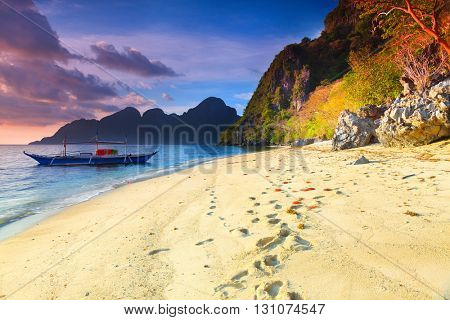 Beautiful seascape. Boat on the foreground. Philippines