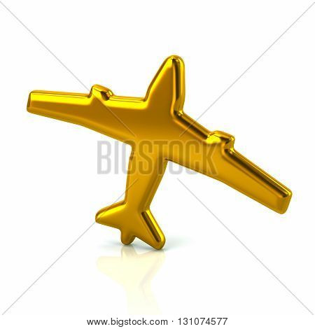 3d illustration of golden plane icon isolated on white background