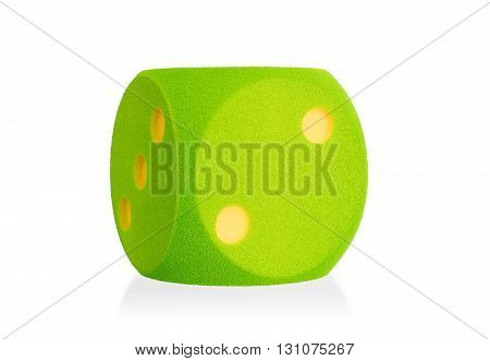 Large Green Foam Die Isolated - 2