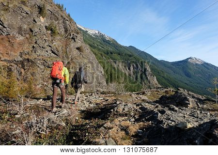 Hikers at Snoqualmie Pass, Cascade Mountains, Washington