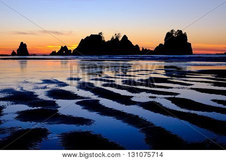 Sunset at Point of Arches Beach, Olympic National Park, Washington