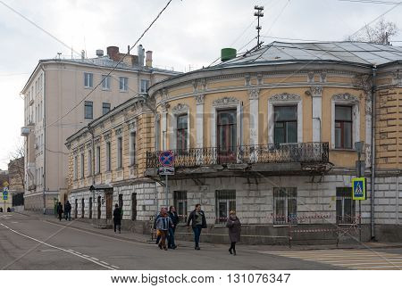 MOSCOW - APRIL 4: Old house known as Profitable House of the Holy Trinity Cathedral in Khokhlovskiy Street on April 4 2016 in Moscow. The house was built in 1912 by Ilyinsky architect.