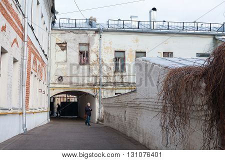 MOSCOW - APRIL 4: Patio of Yaroshenko House in Podkolokolny Street on April 4 2016 in Moscow. Yaroshenko House is a residential building in the center of Moscow built in 1860-1880.